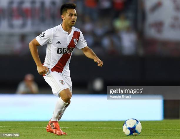 Gonzalo Martinez of River Plate drives the ball during a match between River and Newell's Old Boys as part of Superliga 2017/18 at Monumental Stadium...