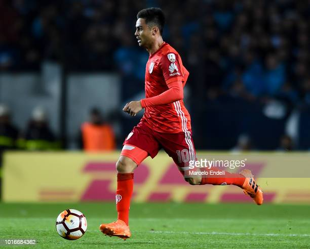 Gonzalo Martinez of River Plate drives the ball during a round of sixteen first leg match between River Plate and Racing Club as part of Copa...