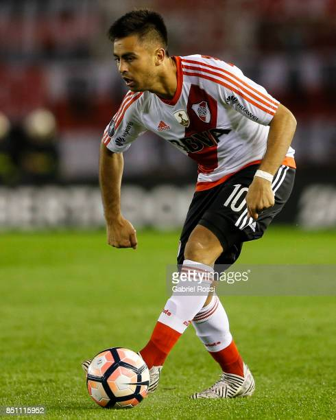 Gonzalo Martinez of River Plate drives the ball during a second leg match between River Plate and Wilstermann as part of the quarter finals of Copa...
