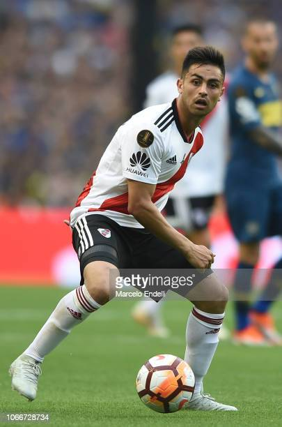 Gonzalo Martinez of River Plate drives the ball during the first leg match between Boca Juniors and River Plate as part of the Finals of Copa...