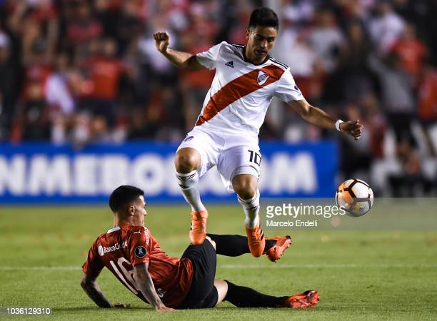 Exequiel Palacios of River Plate heads the ball during a quarter final first leg match between Independiente and River Plate as part of Copa CONMEBOL...