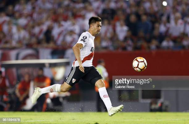 Gonzalo Martinez of River Plate kicks the ball to score the second goal of his team during a match between River Plate and Emelec as part of Copa...
