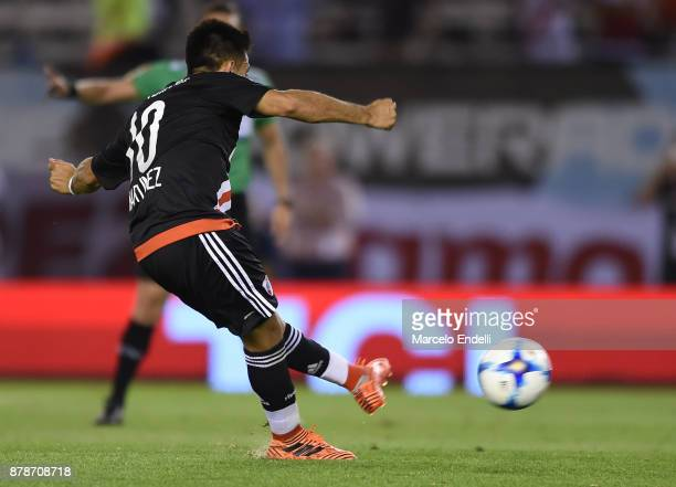 Gonzalo Martinez of River Plate kicks the penalty and scores the second goal of his team during a match between River and Union as part of Superliga...