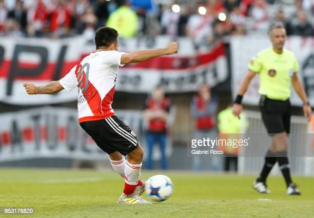 Gonzalo Martinez of River Plate kicks the penalty to score the first goal of his team during a match between River Plate and Argentinos Juniors as...