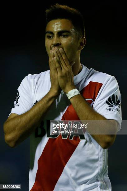 Gonzalo Martinez of River Plate reacts during a match between Gimnasia y Esgrima La Plata and River Plate as part of the Superliga 2017/18 at Juan...