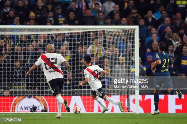 Gonzalo Martinez of River Plate scores a goal to make the score 31 during the second leg of the final match of Copa CONMEBOL Libertadores 2018...