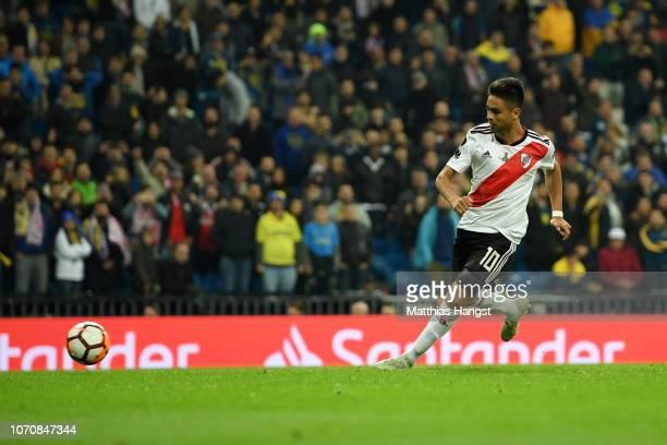 Gonzalo Martinez of River Plate scores his team's third goal during the second leg of the final match of Copa CONMEBOL Libertadores 2018 between Boca...