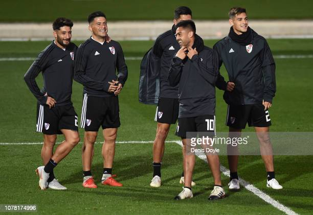 Gonzalo Martinez of River Plate trains with teammates at Ciudad Real Madrid training grounds ahead of the allArgentine Copa Libertadores second leg...