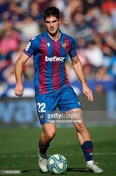 Gonzalo Melero of Levante in action during the Liga match between Levante UD and Deportivo Alaves at Ciutat de Valencia on January 18, 2020 in...