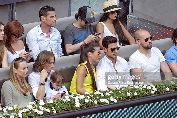 Gonzalo Miro , Aitor Ocio and Luka Modric attend Mutua Madrid Open at La Caja Magica on May 10, 2014 in Madrid, Spain.