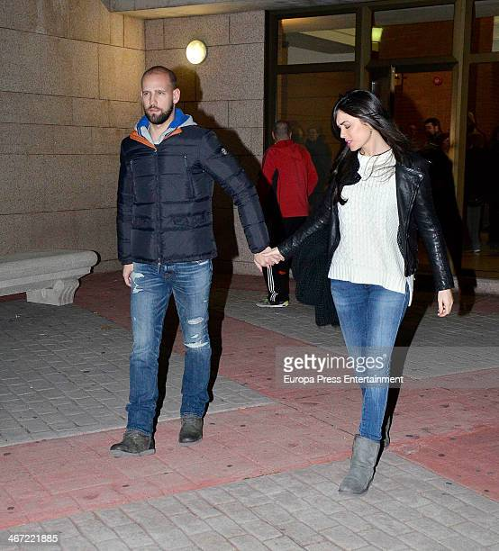 Gonzalo Miro and Ana Isabel Medinabeitia attend the funeral chapel for the former coach of the Spanish national football team Luis Aragones who died...