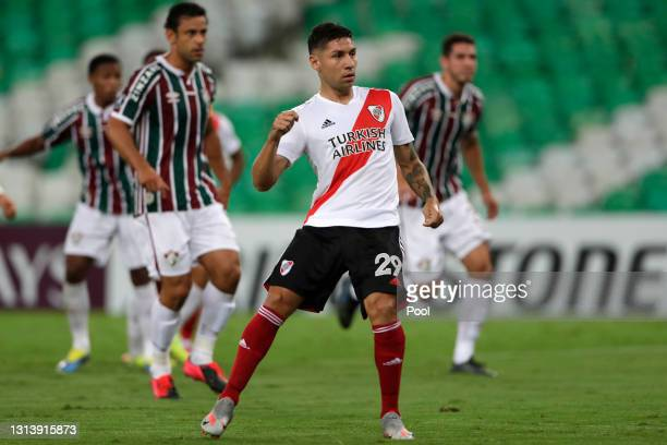 Gonzalo Montiel of River Plate celebrates after scoring the first goal of his team during a match between Fluminense and River Plate as part of group...