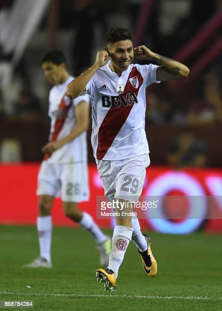 Gonzalo Montiel of River Plate celebrates after scoring the second goal of his team during a second leg match between Lanus and River Plate as part...