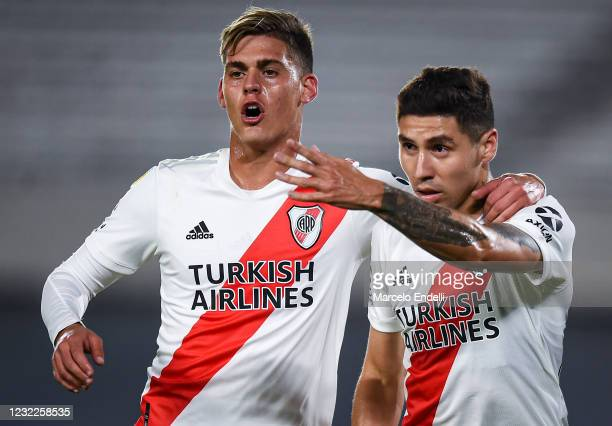 Gonzalo Montiel of River Plate celebrates with teammate Federico Girotti after scoring the third goal of his team during a match between River Plate...