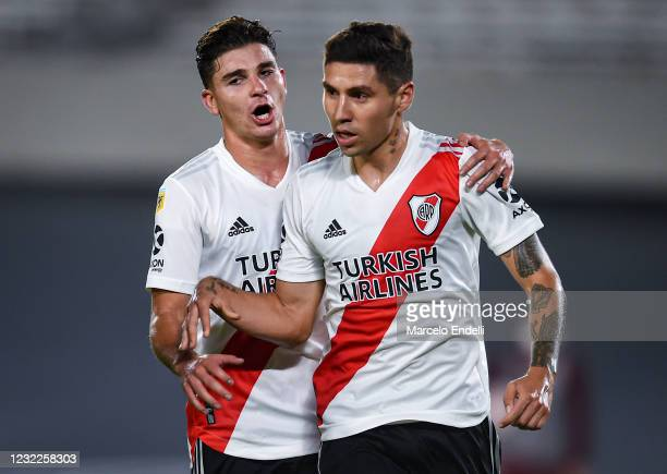 Gonzalo Montiel of River Plate celebrates with teammate Julián Álvarez after scoring the third goal of his team during a match between River Plate...