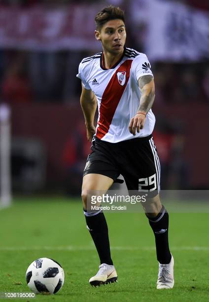 Gonzalo Montiel of River Plate drives the ball during a round of 16 match between River Plate and Platense as part of Copa Argentina 2018 at Estadio...