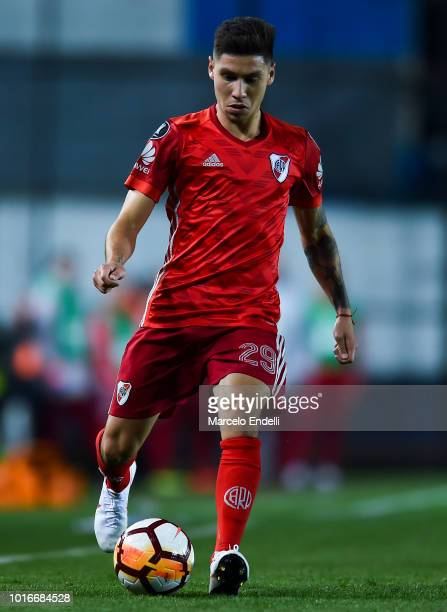 Gonzalo Montiel of River Plate drives the ball during a round of sixteen first leg match between River Plate and Racing Club as part of Copa CONMEBOL...
