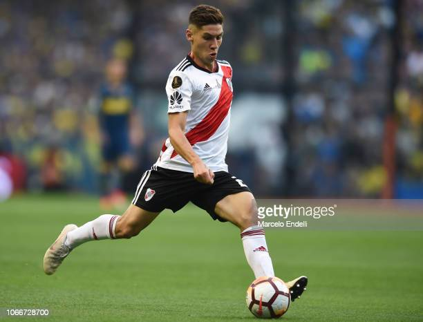 Gonzalo Montiel of River Plate kicks the ball during the first leg match between Boca Juniors and River Plate as part of the Finals of Copa CONMEBOL...