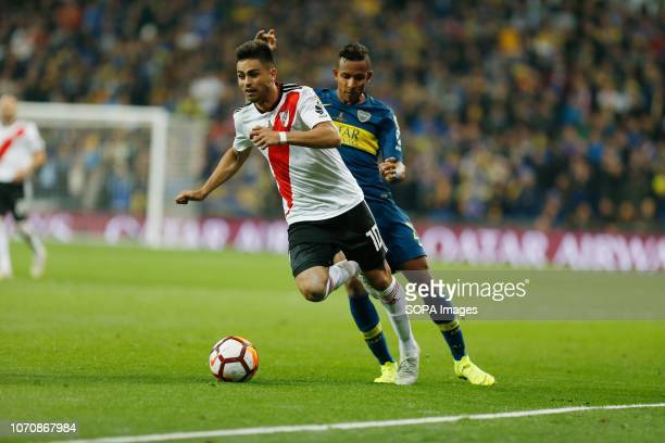 Gonzalo Nicolas Martinez of Boca Juniors in action during the second leg match between River Plate and Boca Juniors as part of the Finals of Copa...