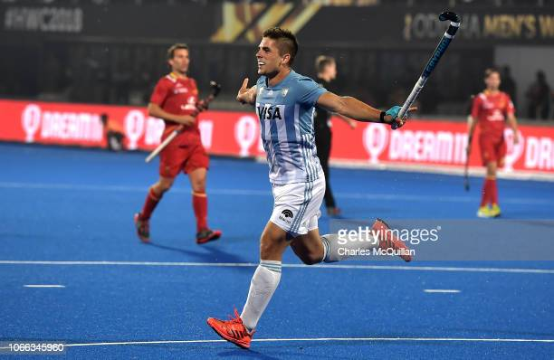 Gonzalo Peillat of Argentina celebrates after scoring his sides fourth goal during the FIH Men's Hockey World Cup Group A match between Argentina and...