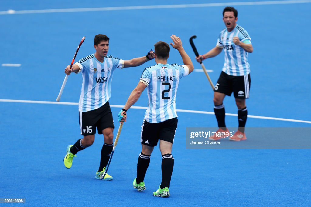 Gonzalo Peillat of Argentina celebrates scoring with his team mate Ignacio Ortiz of Argentina during the Pool A match between Korea and Argentina on day one of Hero Hockey World League Semi-Final at Lee Valley Hockey and Tennis Centre on June 15, 2017 in London, England.