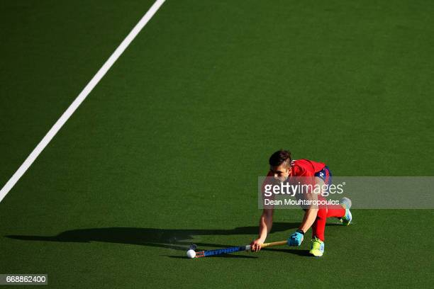 Gonzalo Peillat of Mannheimer HC in action during the Euro Hockey League KO16 match between Mannheimer HC and Club Egara at held at HC OranjeRood on...