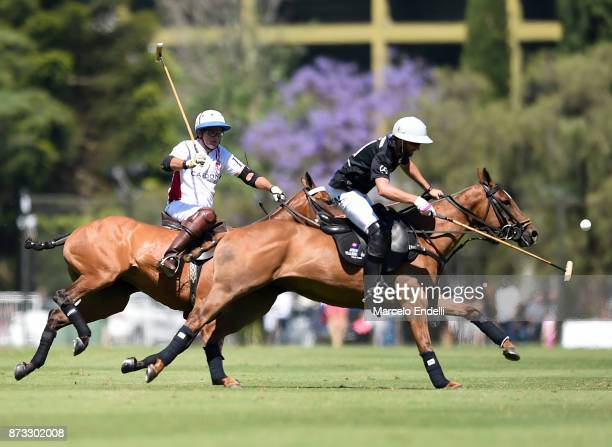 Gonzalo Pieres of Ellerstina competes for the ball with Eduardo Heguy of Chapaleufu during a match between Ellerstina and Chapaleufu as part of the...