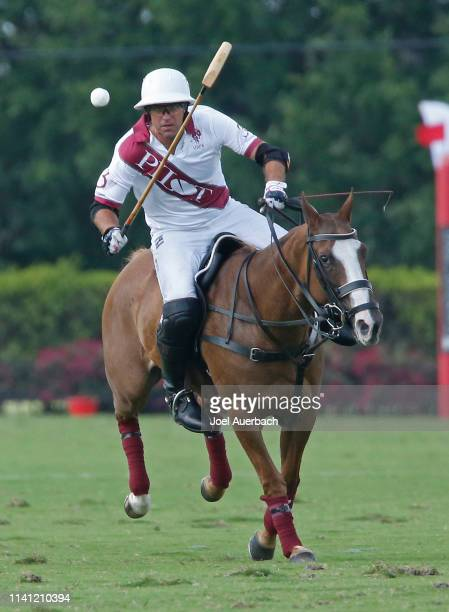 Gonzalo Pieres of Pilot plays the ball up field against Postage Stamp during the 2019 Captive One US Open Polo Championship on April 7 2019 at the...