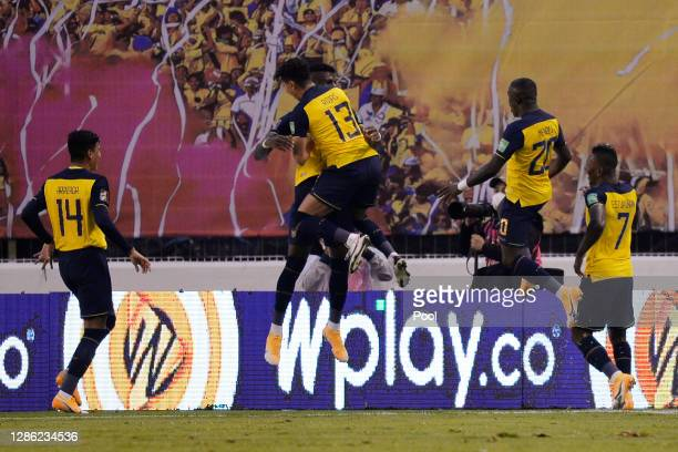 Gonzalo Plata of Ecuador celebrates after scoring the sixth goal of his team with teammates during a match between Ecuador and Colombia as part of...