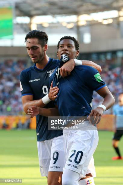 Gonzalo Plata of Ecuador celebrates with teammate Leonardo Campana after scoring his team's third goal during the 2019 FIFA U20 World Cup Round of 16...