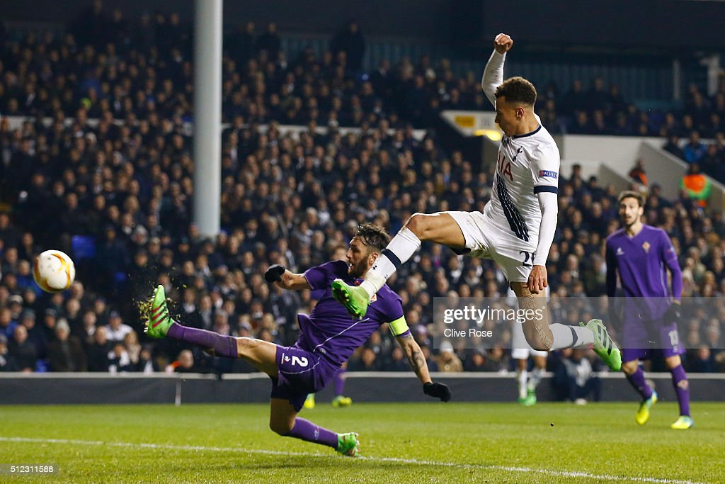 Gonzalo Rodriguez of Fiorentina kicks the ball to score an own goal during the UEFA Europa League round of 32 second leg match between Tottenham Hotspur and Fiorentina at White Hart Lane on February 25, 2016 in London, United Kingdom.