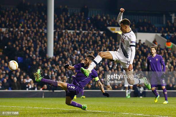 Gonzalo Rodriguez of Fiorentina kicks the ball to score an own goal during the UEFA Europa League round of 32 second leg match between Tottenham...