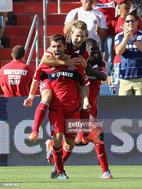 Gonzalo Segares Chris Rolfe and Patrick Nyarko of the Chicago Fire celebrate Segares second half goal against the New York Red Bulls during an MLS...