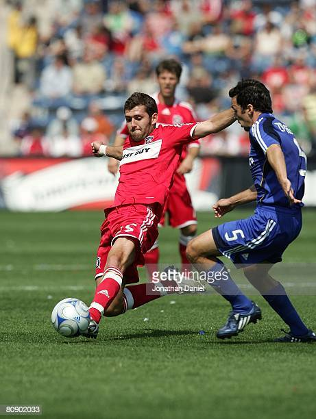 Gonzalo Segares of the Chicago Fire challenges for the ball against Kerry Zavagnin of the Kansas City Wizards during their MLS match on April 20 2008...