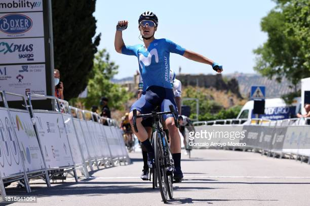 Gonzalo Serrano of Spain and Movistar Team celebrates at arriva during the 67th Vuelta A Andalucia - Ruta Del Sol 2021, Stage 1 a 152,1km stage from...