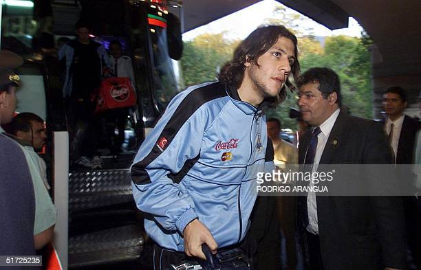 Gonzalo Sorondo of the Uruguayan national soccer team arrives with teammates at a Medellin Colombia hotel 11 July 2001 Uruguay will face Bolivia...