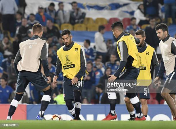 Gonzalo Veron and Alan Franco of Independiente warm up prior to a match between Millonarios and Independiente as part of Copa CONMEBOL Libertadores...