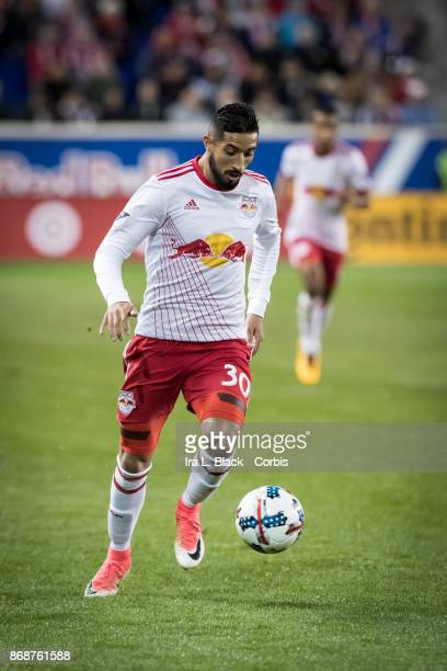 Gonzalo Veron of New York Red Bulls drives toward the goal during the Audi MLS Cup Playoff match between New York Red Bulls and Toronto FC at Red...