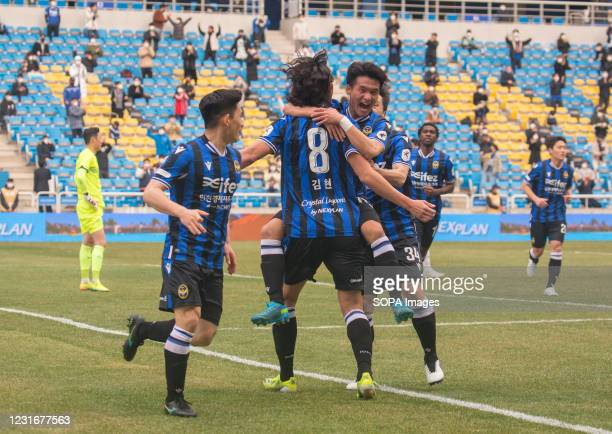 Goo Boon-Cheul of Incheon United FC celebrates his goal with his teammates Kim Hyun and Kim Do-Hyeok during the 2nd round of the 2021 K League 1...
