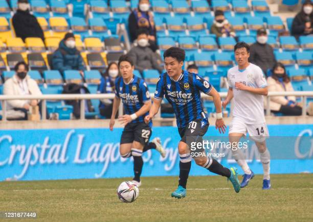 Goo Boon-Cheul of Incheon United FC in action during the 2nd round of the 2021 K League 1 soccer match between Incheon United FC and Daegu FC at the...