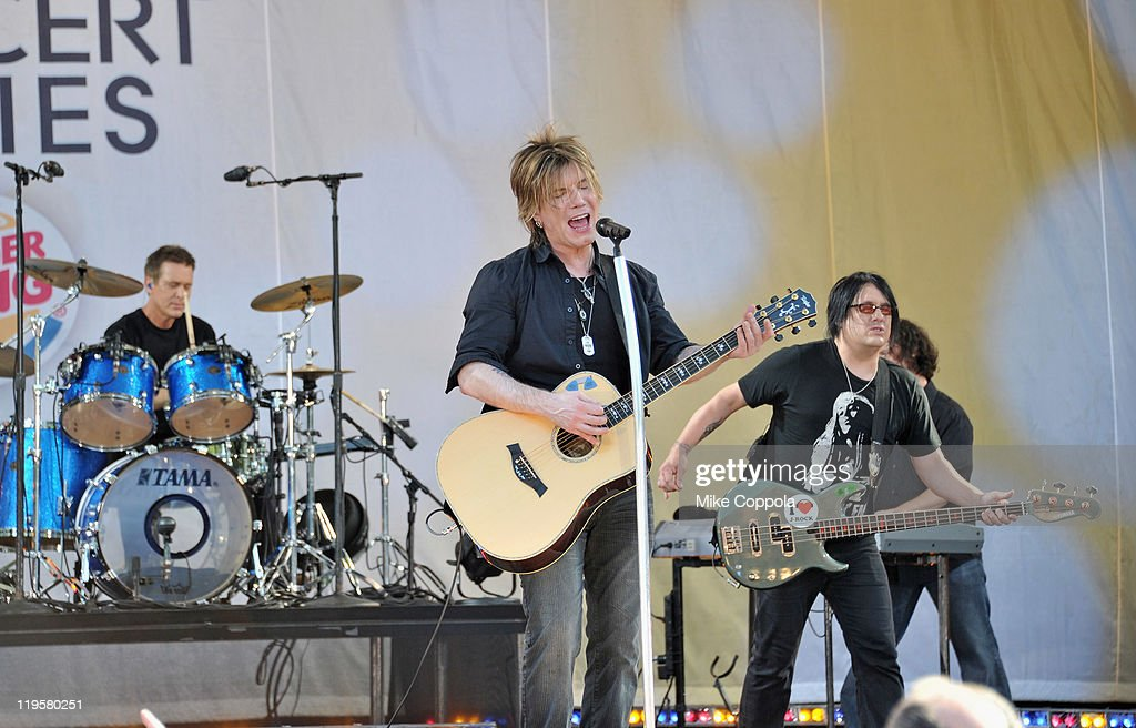 Goo Goo Dolls drummer Mike Malinin, singer/guitar player John Rzeznik and bass player Robby Takac perform on ABC's 'Good Morning America' at Rumsey Playfield, Central Park on July 22, 2011 in New York City.