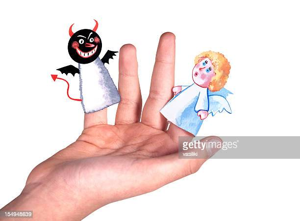 Good and evil finger dolls