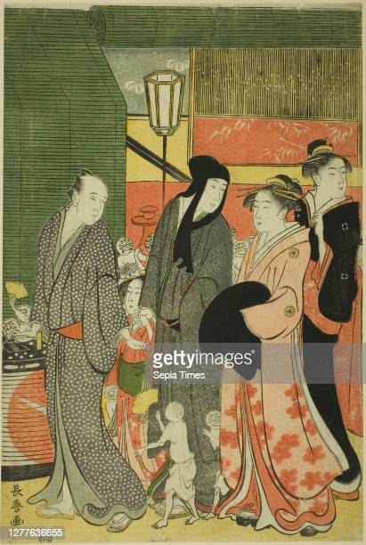 Good and Evil Influences , c. 1795, Eishosai Choki, Japanese, active c. 1790s-early 1800s, Japan, Color woodblock print, left sheet of oban triptych...