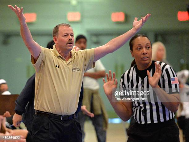 Good Counsel head coach Tom Splaine unhappy with a call in the overtime period in the game with Eleanor Roosevelt in the Title IX Classic at the DC...
