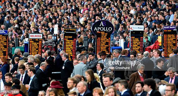Good crowd at Ascot racecourse on October 18, 2014 in Ascot, England.
