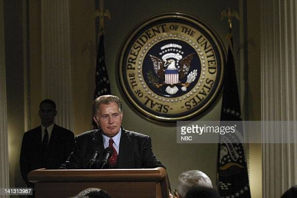WING 'A Good Day' Episode 17 Aired Pictured Martin Sheen as President Josiah 'Jed' Bartlet Photo by Scott Garfield/NBCU Photo Bank