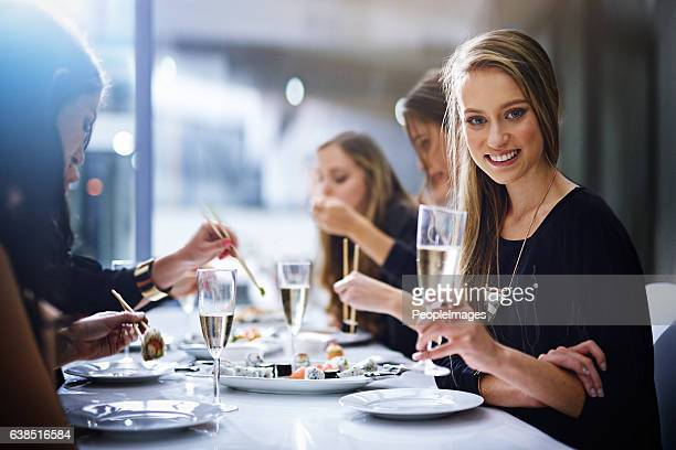 good food and great friends - what more do you need - dining stock photos and pictures