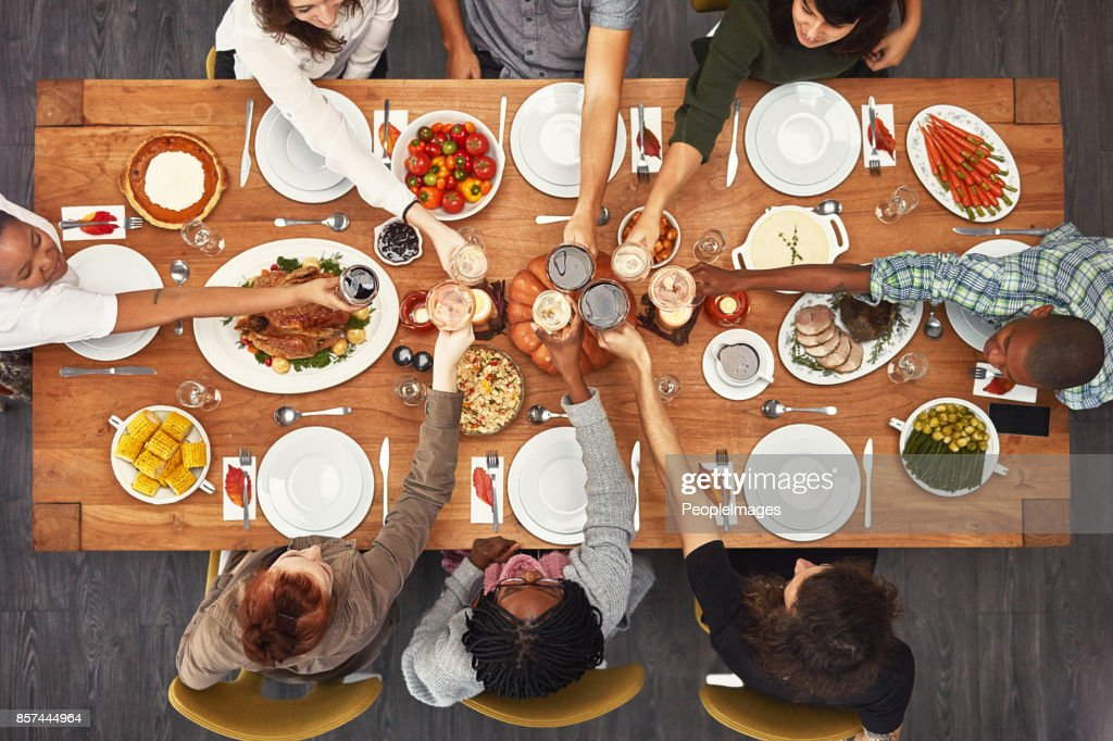 Good food is even better with good friends : Stock Photo