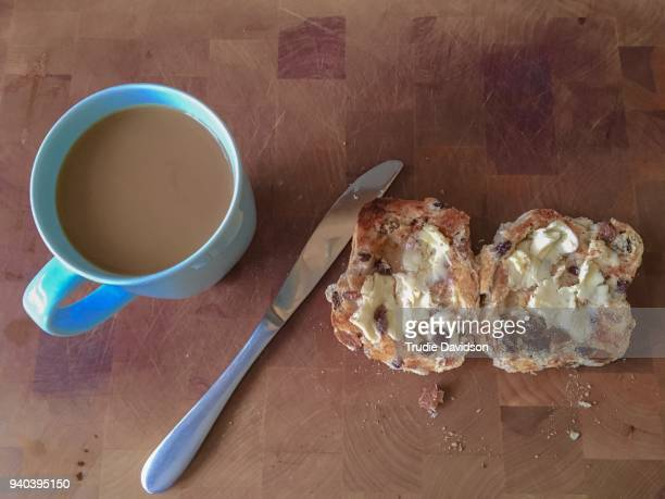 good friday breakfast - hot cross bun stock pictures, royalty-free photos & images