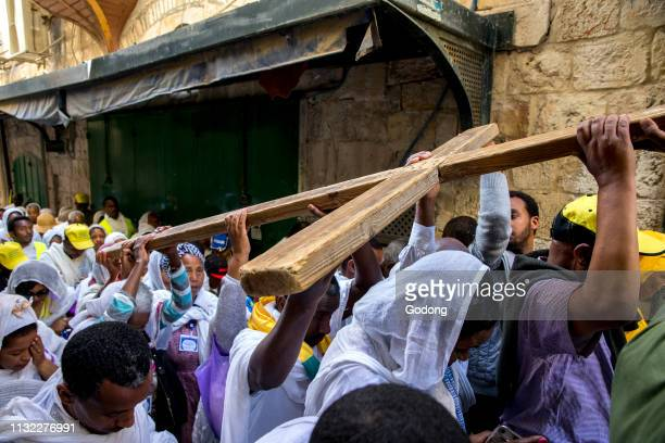 Good Friday coptic Ethiopian christian procession on the Via Dolorosa Jerusalem Israel